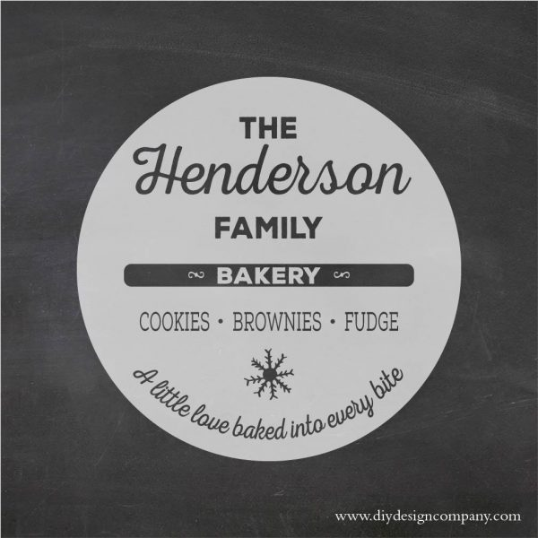 DIY Design Company personalized holiday bakery stencil or decal