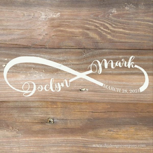 Infinity symbol with 2 names and a wedding date