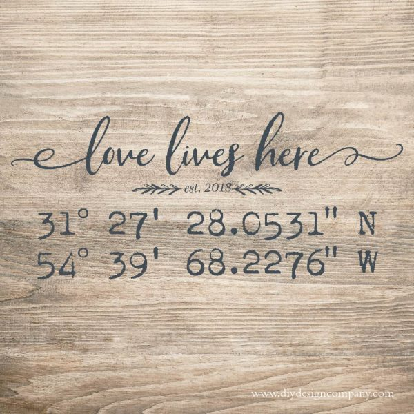 GPS coordinates with Love Lives Here text