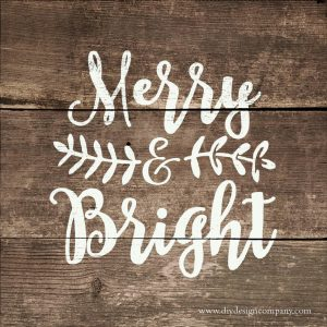 Merry & Bright holiday design with swirly text and floral leaves