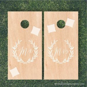 DIY Design Company Mr and Mrs Cornhole Board vinyl stencils and vinyl decals