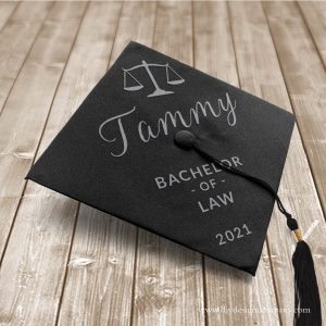 Graduation cap with name and degree