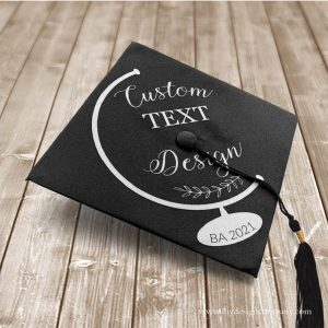Globe grad cap design with custom text