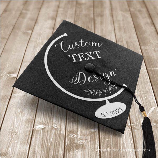 Globe grad cap design with custom text