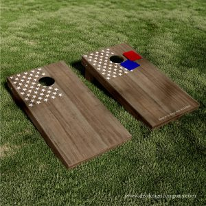 Cornhole boards with American flag star field vinyl decal or stencil