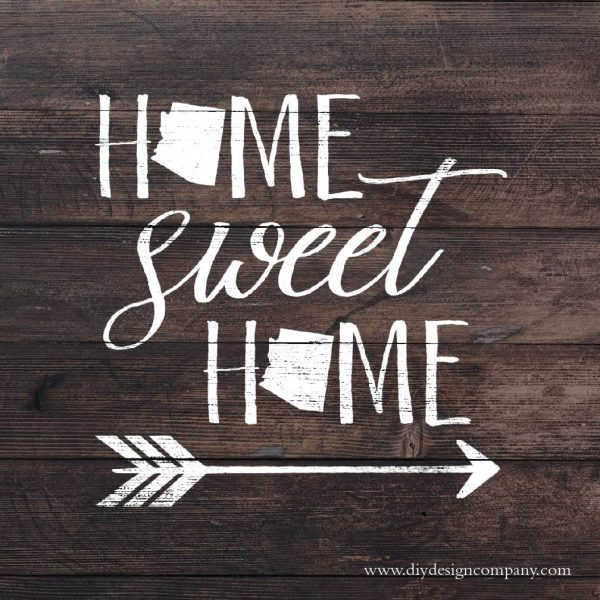 Home sweet home with personalized states and arrow