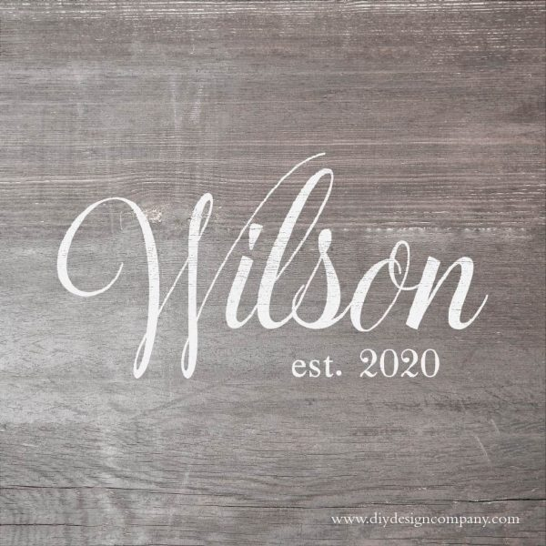 Name in fancy cursive font with date underneath