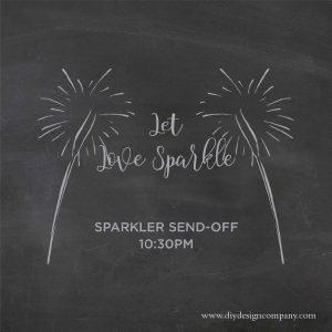 Let love sparkle sparkler send off sign for wedding
