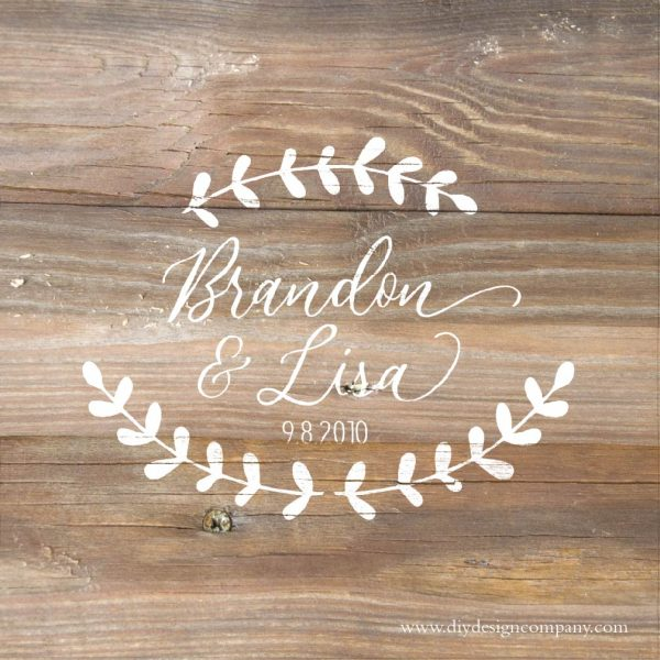 Personalind name design with floral leave for wedding guest board